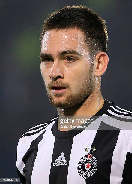 Andrija Zivkovic of FK Partizan looks on during the UEFA Europa League match between FK Partizan v Athletic Club at Stadium FK Partizan on October 22...