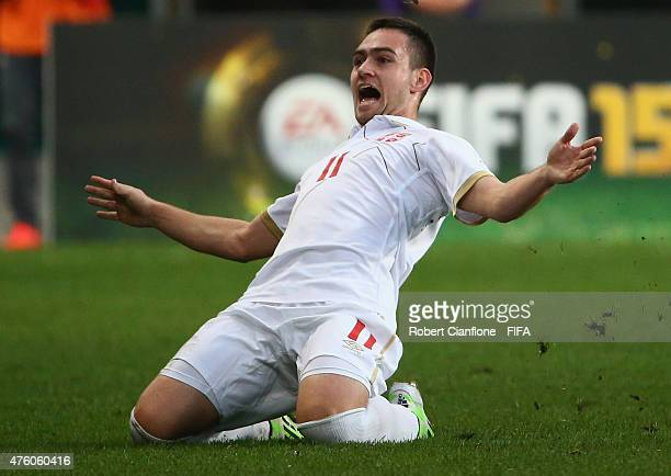 Andrija Zivkovic of Serbia celebrates after scoring a goal during the FIFA U20 World Cup New Zealand 2015 Group D match between Serbia and Mexico at...