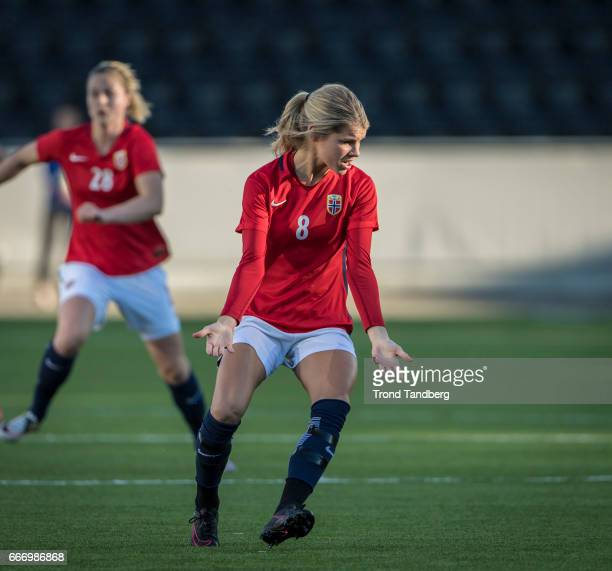 Andrine Hegerberg Hegerberg of Norway during International Friendly match between Norway v Switzerland at Skagerak Arena on April 10 2017 in Skien...
