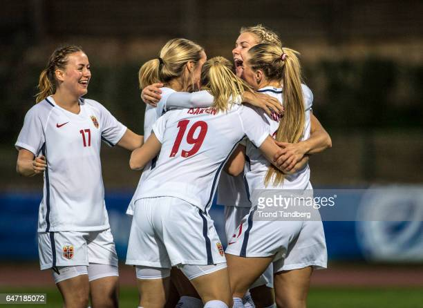 Andrine Hegerberg Kristine Minde Ingvild Isaksen Lisa Marie Utland Ada Hegerberg of Norway during the Women's International Friendly match between...