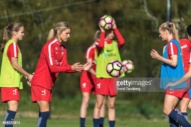 Andrine Hegerberg Lisa Marie Utland of Norway during training on March 02 2017 in Portimao Portugal