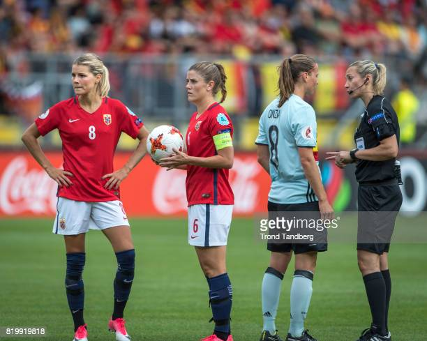 Andrine Hegerberg Maren Mjelde of Norway Lenie Onzia of Belgium Referee Monika Mularczyk of Polen during the UEFA Womens Euro 2017 between Norway v...