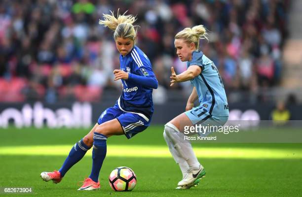 Andrine Hegerberg of Birmingham City Ladies is put under pressure from Isobel Christiansen of Manchester City during the SSE Women's FA Cup Final...