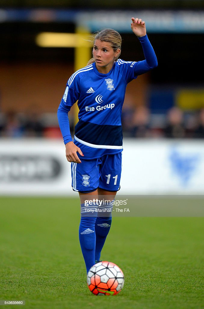 Andrine Hegerberg of Birmingham City Ladies prepares to take a free kick during the WSL match between Birmingham City Ladies and Arsenal Ladies FC at Automated Technology Stadium on June 29, 2016 in Solihull, England.