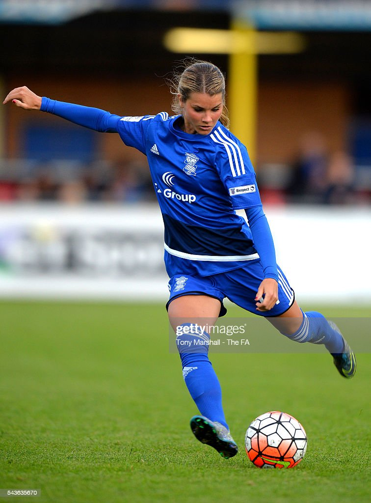 Andrine Hegerberg of Birmingham City Ladies takes a free kick during the WSL match between Birmingham City Ladies and Arsenal Ladies FC at Automated Technology Stadium on June 29, 2016 in Solihull, England.