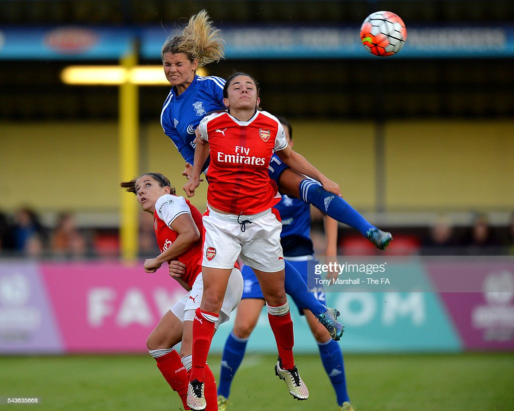 Andrine Hegerberg of Birmingham City Ladies wins the ball in the air from Danielle Van De Donk of Arsenal Ladies FC during the WSL match between Birmingham City Ladies and Arsenal Ladies FC at Automated Technology Stadium on June 29, 2016 in Solihull, England.