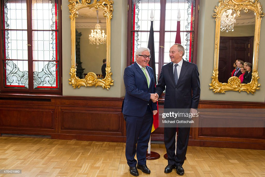 Andris Berzins, President of Latvia, and German Foreign Minister <a gi-track='captionPersonalityLinkClicked' href=/galleries/search?phrase=Frank-Walter+Steinmeier&family=editorial&specificpeople=603500 ng-click='$event.stopPropagation()'>Frank-Walter Steinmeier</a> meet on April 17, 2015 in Riga, Latvia.