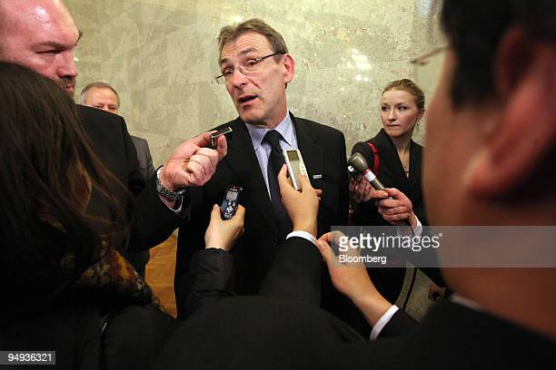 Andris Piebalgs European commissioner for energy speaks to the media after the Nabucco Gas Pipeline Conference in Budapest Hungary on Tuesday Jan 27...