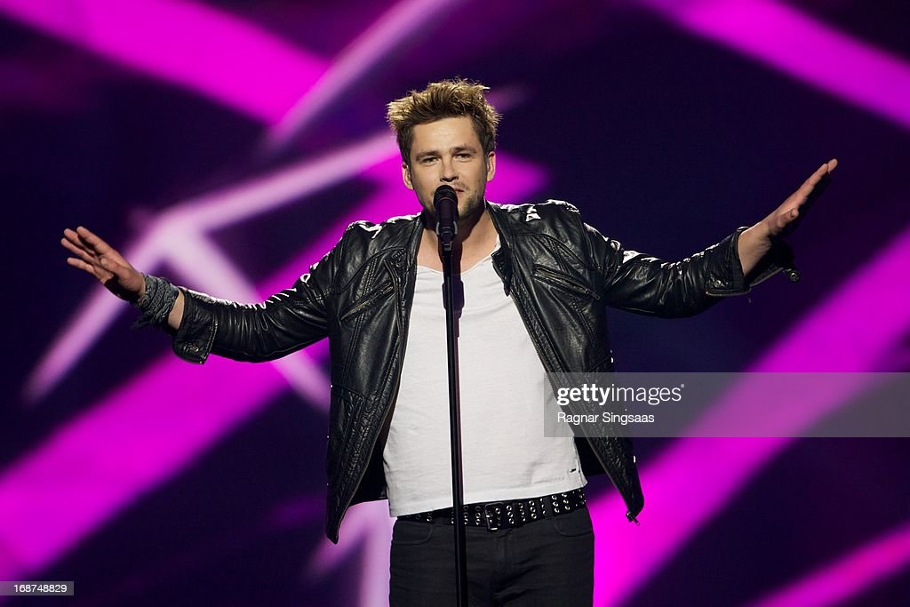 Andrius Pojavis of Lithuania performs on stage during the first semi final of the Eurovision Song Contest 2013 at Malmo Arena on May 14, 2013 in Malmo, Sweden.