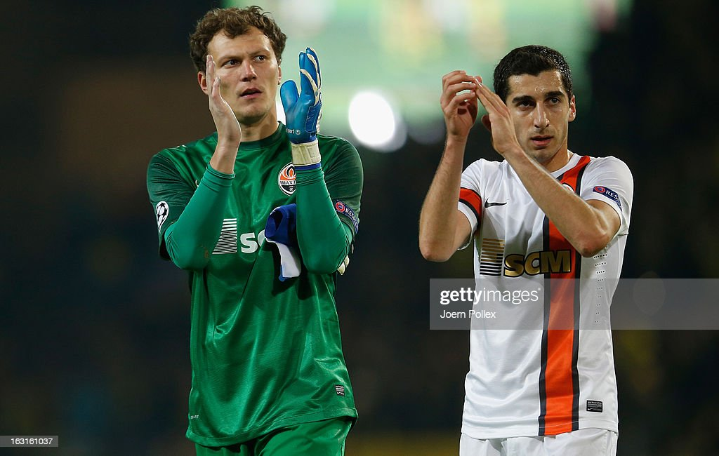 Andriy Pyatov (L) and Henrikh Mkhitaryan of Donetsk are seen after the UEFA Champions League round of 16 leg match between Borussia Dortmund and Shakhtar Donetsk at Signal Iduna Park on March 5, 2013 in Dortmund, Germany.