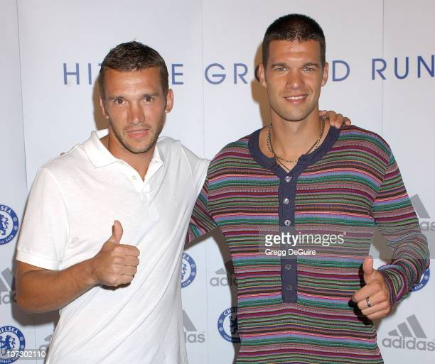 Andriy Shevchenko and Michael Ballack during Chelsea FC Adidas William Morris Agency Host 'The Hit The Ground Running Party' Arrivals at The Skybar @...