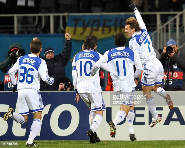 Andriy Shevchenko and players of FC Dynamo Kiev react after scoring against FC Inter Milan during UEFA Champions League Group F football match in...