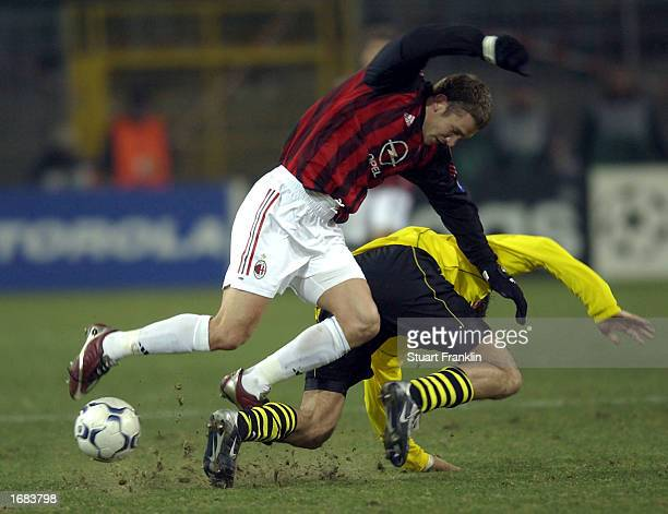 Andriy Shevchenko of AC Milan and Christoph Metzelder of Dortmund during The Champions league match between Borussia Dortmund and AC Milan at The...