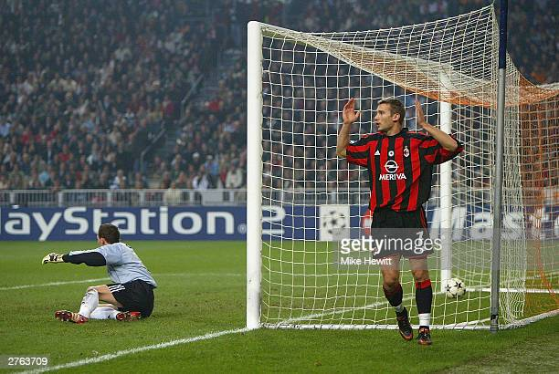 Andriy Shevchenko of AC Milan can't believe it as he has a 'goal' disallowed during the UEFA Champions League Group H match between Ajax and AC Milan...