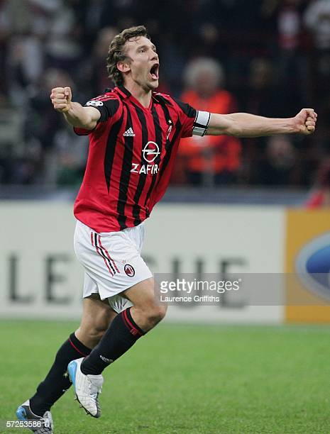 Andriy Shevchenko of AC Milan celebrates victory at the end of the UEFA Champions League Quarter Final Second Leg match between AC Milan and Lyon at...