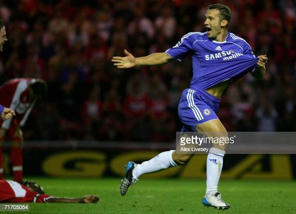Andriy Shevchenko of Chelsea celebrates scoring the opening goal during the Barclays Premiership match between Middlesbrough and Chelsea at the...
