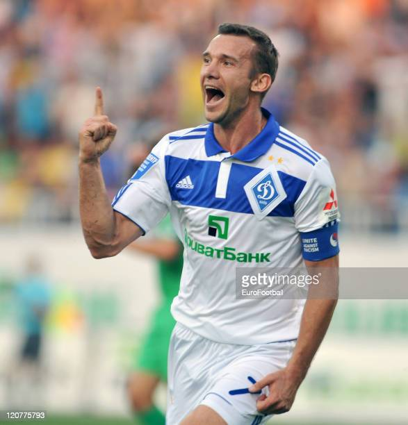 Andriy Shevchenko of FC Dynamo Kyiv celebrates scoring the opening goal during the Ukrainian Premier League match between FC Dynamo Kyiv and FC...