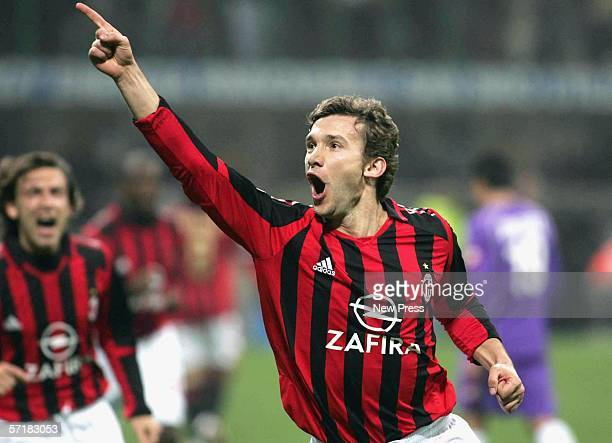 Andriy Shevchenko of Milan celebrates his goal during the AC Milan v Fiorentina Serie A game on March 25 2006 at the San Siro in Milan Italy