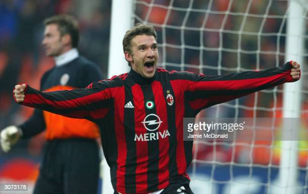 Andriy Shevchenko of Milan celebrates his goal during the UEFA Champions League Second Leg match between AC Milan and Sparta Prague at The San Siro...