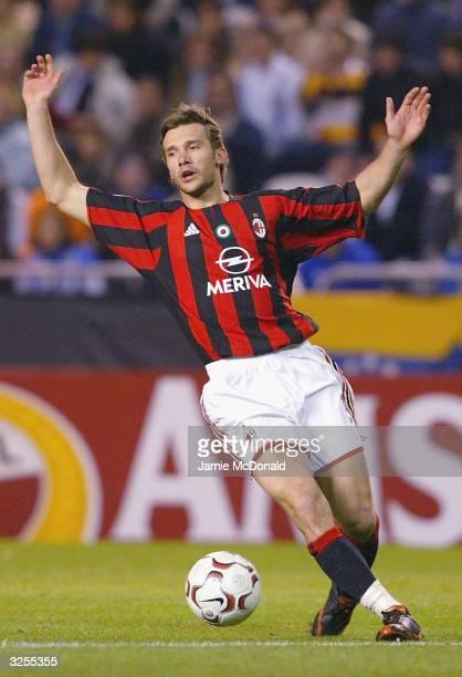 Andriy shevchenko of Milan dispairs at his teams defeat during the UEFA Champions League match between Deportivo La Coruna and AC Milan at the...