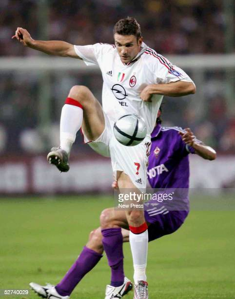 Andriy Shevchenko of Milan in action duing the Serie A match between Fiorentina and AC Milan at the Artemio Franchi stadium on April 30 2005 in...