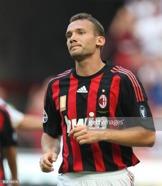 Andriy Shevchenko of Milan in action during the Serie A match between Milan and Bologna at the Stadio Meazza on August 31 2008 in Milan Italy