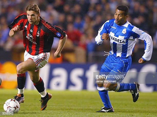 Andriy Shevchenko of Milan outpaces Mauro Silva of Deportivo during the UEFA Champions League match between Deportivo La Coruna and AC Milan at the...