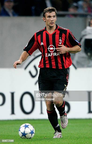 Andriy Shevchenko of Milan runs witht the ball during the UEFA Champions League Group E match between FC Schalke 04 and AC Milan at the Veltins Arena...