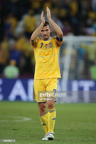 Andriy Shevchenko of Ukraine applauds the fans after the UEFA EURO 2012 group D match between Ukraine and France at Donbass Arena on June 15 2012 in...