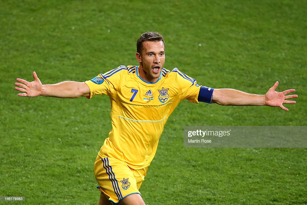 <a gi-track='captionPersonalityLinkClicked' href=/galleries/search?phrase=Andriy+Shevchenko&family=editorial&specificpeople=220501 ng-click='$event.stopPropagation()'>Andriy Shevchenko</a> of Ukraine celebrates scoring their second goal during the UEFA EURO 2012 group D match between Ukraine and Sweden at The Olympic Stadium on June 11, 2012 in Kiev, Ukraine.