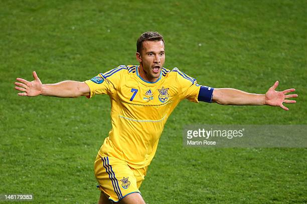 Andriy Shevchenko of Ukraine celebrates scoring their second goal during the UEFA EURO 2012 group D match between Ukraine and Sweden at The Olympic...