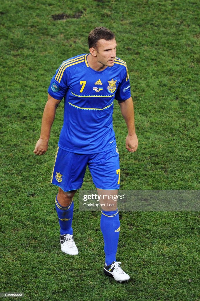 <a gi-track='captionPersonalityLinkClicked' href=/galleries/search?phrase=Andriy+Shevchenko&family=editorial&specificpeople=220501 ng-click='$event.stopPropagation()'>Andriy Shevchenko</a> of Ukraine leaves the field during the UEFA EURO 2012 group D match between England and Ukraine at Donbass Arena on June 19, 2012 in Donetsk, Ukraine.