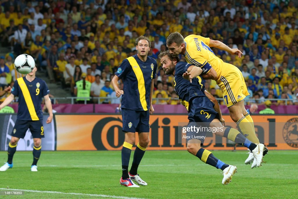 <a gi-track='captionPersonalityLinkClicked' href=/galleries/search?phrase=Andriy+Shevchenko&family=editorial&specificpeople=220501 ng-click='$event.stopPropagation()'>Andriy Shevchenko</a> of Ukraine scores their first goal during the UEFA EURO 2012 group D match between Ukraine and Sweden at The Olympic Stadium on June 11, 2012 in Kiev, Ukraine.