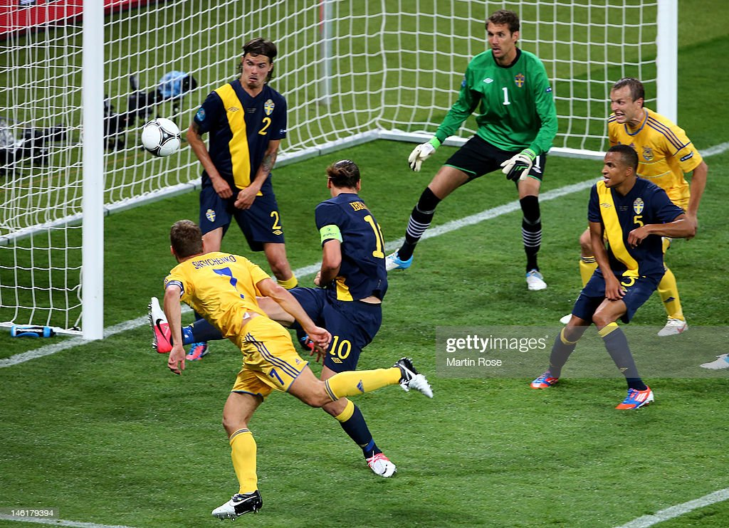 <a gi-track='captionPersonalityLinkClicked' href=/galleries/search?phrase=Andriy+Shevchenko&family=editorial&specificpeople=220501 ng-click='$event.stopPropagation()'>Andriy Shevchenko</a> of Ukraine scores their second goal during the UEFA EURO 2012 group D match between Ukraine and Sweden at The Olympic Stadium on June 11, 2012 in Kiev, Ukraine.