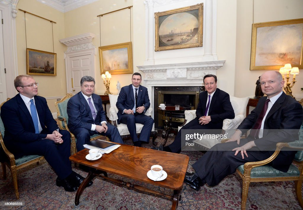 <a gi-track='captionPersonalityLinkClicked' href=/galleries/search?phrase=Andriy+Shevchenko&family=editorial&specificpeople=220501 ng-click='$event.stopPropagation()'>Andriy Shevchenko</a>, Petro Poroshenko, Leader of the Ukrainian Democratic Alliance for Reform party (UDAR) Vitaly Klitschko, British Prime Minister David Cameron and British Foreign Secretary <a gi-track='captionPersonalityLinkClicked' href=/galleries/search?phrase=William+Hague&family=editorial&specificpeople=206295 ng-click='$event.stopPropagation()'>William Hague</a> meet in 10 Downing Street on March 26, 2014 in London, England. Mr Cameron and Mr Klitschko held a meeting in 10 Downing Street to discuss the latest developments in the Ukraine and Crimea ahead of the presidential elections which will be held in the next couple of months.
