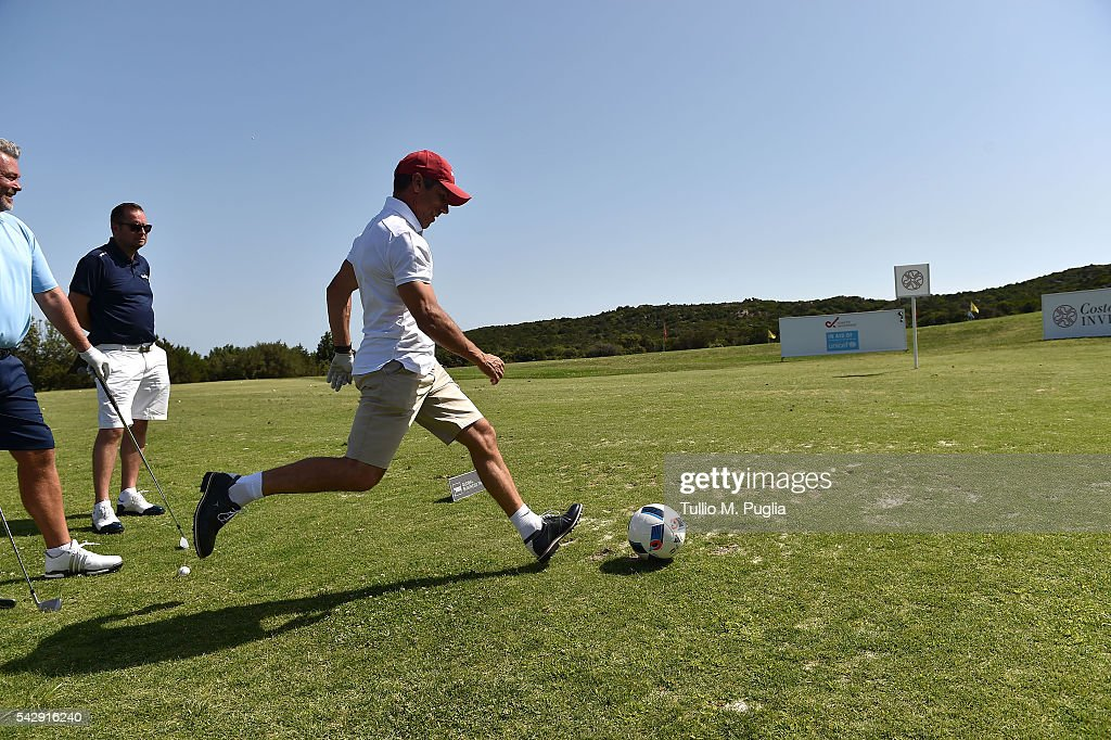 Andriy Shevchenko plays soccer during The Costa Smeralda Invitational golf tournament at Pevero Golf Club - Costa Smeralda on June 25, 2016 in Olbia, Italy.