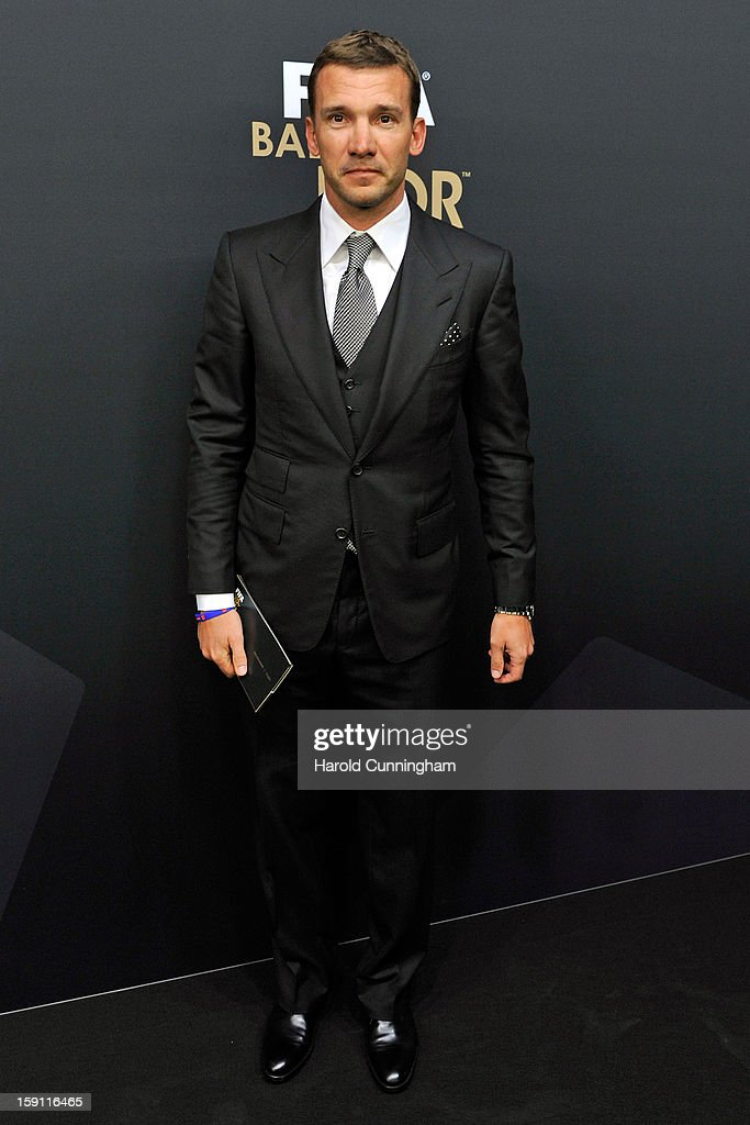 <a gi-track='captionPersonalityLinkClicked' href=/galleries/search?phrase=Andriy+Shevchenko&family=editorial&specificpeople=220501 ng-click='$event.stopPropagation()'>Andriy Shevchenko</a> poses during the red carpet arrivals of the FIFA Ballon d'Or Gala 2013 at Congress House on January 7, 2013 in Zurich, Switzerland.