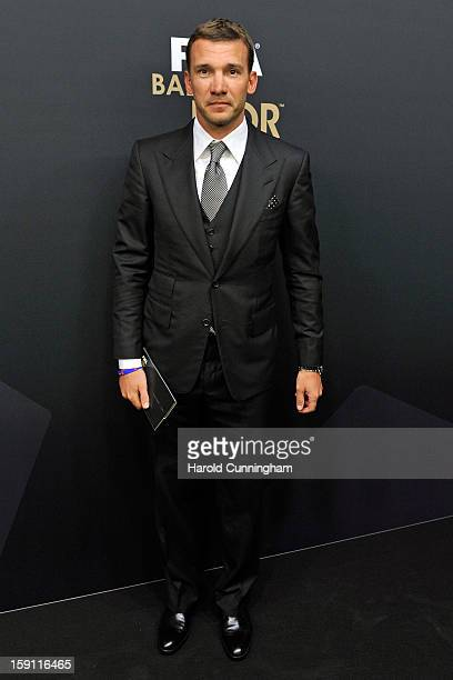 Andriy Shevchenko poses during the red carpet arrivals of the FIFA Ballon d'Or Gala 2013 at Congress House on January 7 2013 in Zurich Switzerland