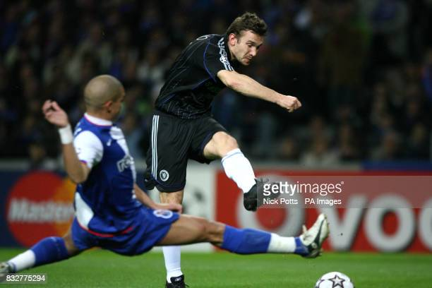 Andriy Shevchenko score the equalizer during the UEFA Champions League First Knockout Round First Leg at the Dragao Stadium Porto
