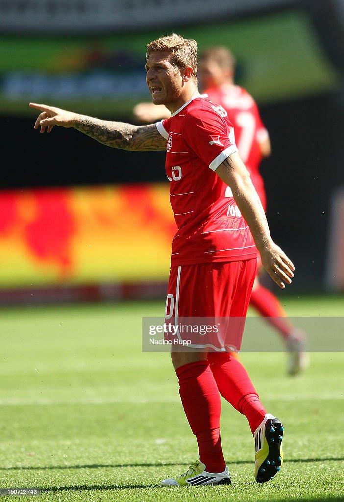 Andriy Voronin of Fortuna gestures during the Bundesliga match between FC Augsburg v Fortuna Duesseldorf 1895 at SGL Arena on August 25 2012 in...