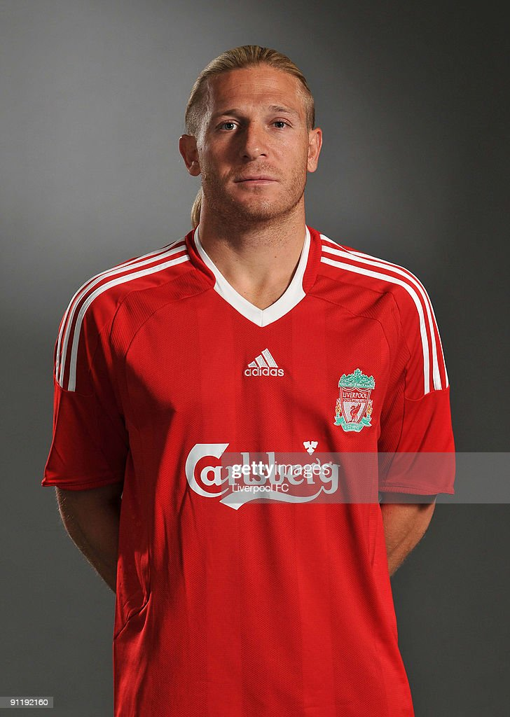 Andriy Voronin of Liverpool FC poses during a Liverpool FC 2009/2010 season photocall in Liverpool England