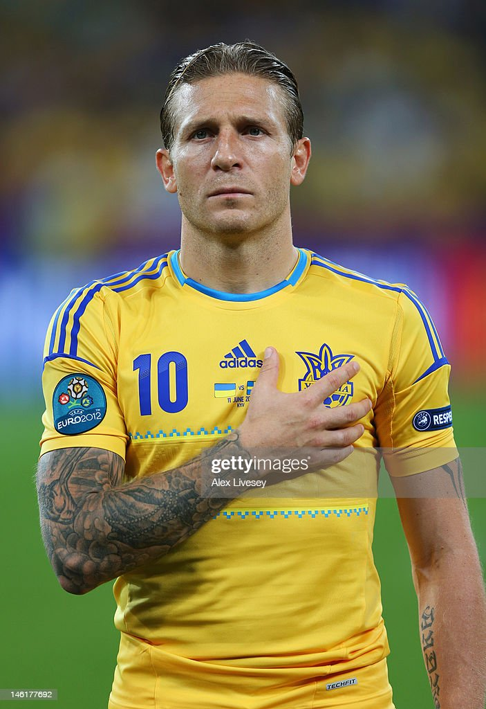 Andriy Voronin of Ukraine lines up during the UEFA EURO 2012 group D match between Ukraine and Sweden at The Olympic Stadium on June 11 2012 in Kiev...