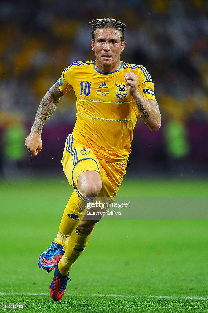 Andriy Voronin of Ukraine runs during the UEFA EURO 2012 group D match between Ukraine and Sweden at The Olympic Stadium on June 11 2012 in Kiev...