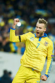Andriy Yarmolenko from Ukraine celebrates after scoring during the UEFA EURO 2016 Playoff for Final Tournament First leg between Ukraine and Slovenia...