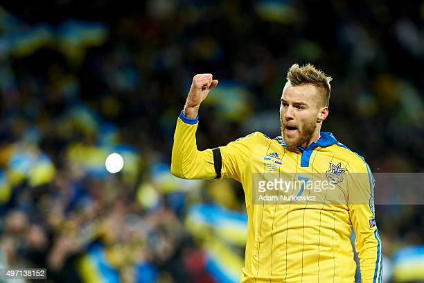 Andriy Yarmolenko from Ukraine celebrates after scoring the first goal during the UEFA EURO 2016 Playoff for Final Tournament First leg between...