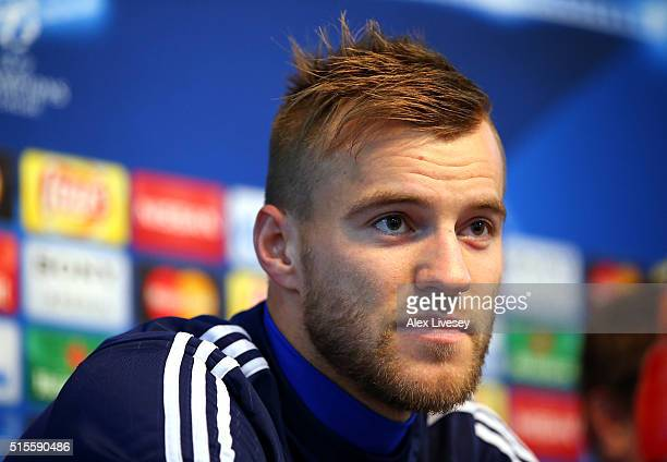 Andriy Yarmolenko of FC Dynamo Kyiv faces the media during a press conference at the Etihad Stadium on March 14 2016 in Manchester United Kingdom