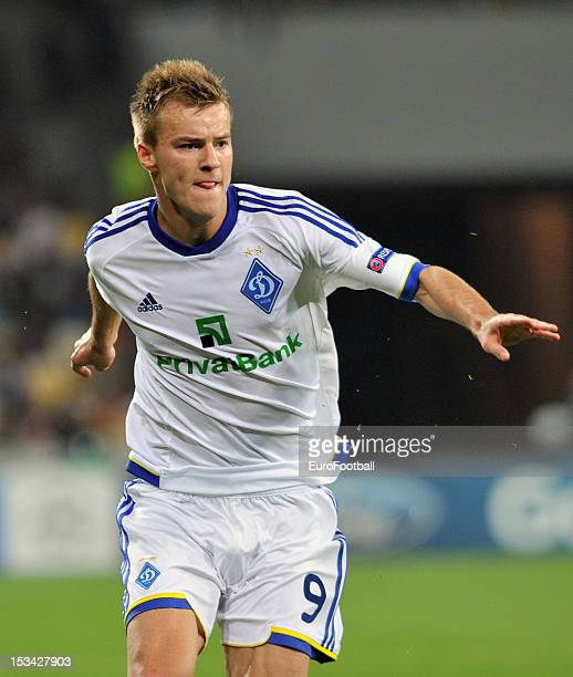 Andriy Yarmolenko of FC Dynamo Kyiv in action during the UEFA Champions League group stage match between FC Dynamo Kyiv and GNK Dinamo Zagreb at the...