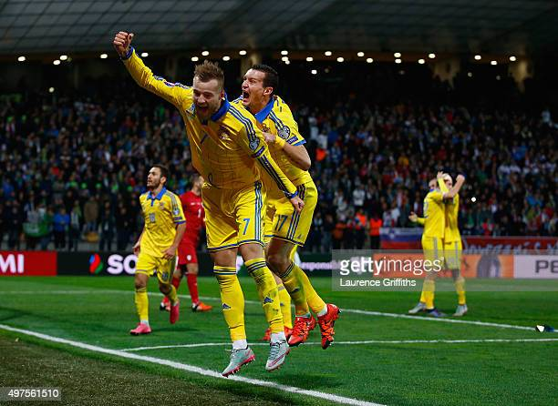 Andriy Yarmolenko of Ukraine celebrates his goal and qualification with Artem Fedetskiy during the UEFA EURO 2016 qualifier playoff second leg match...