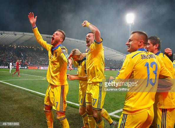 Andriy Yarmolenko of Ukraine celebrates his goal and qualification with Artem Fedetskiy during the UEFA EURO 2016 qualifier playoff second leg match...