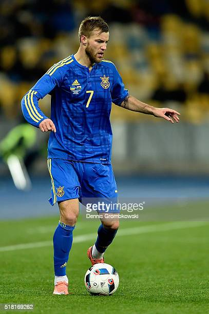 Andriy Yarmolenko of Ukraine controls the ball during the International Friendly match between Ukraine and Wales at NSK Olimpijskyj on March 28 2016...